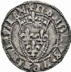 Photo numismatique  ARCHIVES VENTE 2015 -26-28 oct -Coll Jean Teitgen ROYALES FRANCAISES CHARLES VII (30 octobre 1422-22 juillet 1461)  100- Petit blanc, 1ère émission (29 décembre 1426), Niort.
