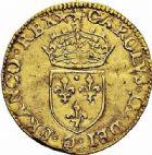 Photo numismatique  ARCHIVES VENTE 2015 -26-28 oct -Coll Jean Teitgen ROYALES FRANCAISES HENRI III (30 mai 1574–2 août 1589) Monnayage au nom de Charles IX 199- 1/2 écu d'or au soleil, Poitiers 1575.