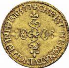 Photo numismatique  ARCHIVES VENTE 2015 -26-28 oct -Coll Jean Teitgen ROYALES FRANCAISES HENRI III (30 mai 1574–2 août 1589) Monnayage au nom d'Henri III 202- Écu d'or au soleil, La Rochelle 1577.