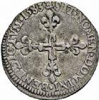 Photo numismatique  ARCHIVES VENTE 2015 -26-28 oct -Coll Jean Teitgen ROYALES FRANCAISES HENRI III (30 mai 1574–2 août 1589) Monnayage au nom d'Henri III 216- Sol parisis, Tours 1583.