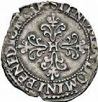 Photo numismatique  ARCHIVES VENTE 2015 -26-28 oct -Coll Jean Teitgen ROYALES FRANCAISES LA LIGUE au nom d'HENRI III (1589-1596)  224- 1/4 de franc à col plat, Toulouse 1591.