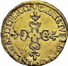 Photo numismatique  ARCHIVES VENTE 2015 -26-28 oct -Coll Jean Teitgen ROYALES FRANCAISES CHARLES X, roi de la Ligue (2 août 1589-9 mai 1590)  225- Écu d'or au soleil, Paris 1591.