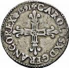 Photo numismatique  ARCHIVES VENTE 2015 -26-28 oct -Coll Jean Teitgen ROYALES FRANCAISES CHARLES X, roi de la Ligue (2 août 1589-9 mai 1590)  226- 1/4 d'écu, Rouen 1591.