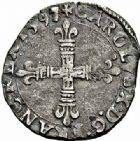 Photo numismatique  ARCHIVES VENTE 2015 -26-28 oct -Coll Jean Teitgen ROYALES FRANCAISES CHARLES X, roi de la Ligue (2 août 1589-9 mai 1590)  227- 1/8ème d'écu, Nantes 1597.