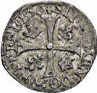 Photo numismatique  ARCHIVES VENTE 2015 -26-28 oct -Coll Jean Teitgen ROYALES FRANCAISES CHARLES X, roi de la Ligue (2 août 1589-9 mai 1590)  228- Douzain du 2ème type, Paris 1590.