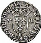Photo numismatique  ARCHIVES VENTE 2015 -26-28 oct -Coll Jean Teitgen ROYALES FRANCAISES HENRI IV (2 août 1589-14 mai 1610)  241- 1/8ème d'écu, 2ème type, Montpellier 1604.