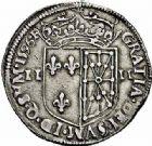 Photo numismatique  ARCHIVES VENTE 2015 -26-28 oct -Coll Jean Teitgen ROYALES FRANCAISES HENRI IV (2 août 1589-14 mai 1610)  245- 1/4 d'écu de Navarre, Saint-Palais 1596.