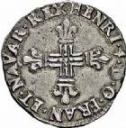 Photo numismatique  ARCHIVES VENTE 2015 -26-28 oct -Coll Jean Teitgen ROYALES FRANCAISES HENRI IV (2 août 1589-14 mai 1610)  247- 1/8ème d'écu de Navarre, Saint-Palais 1601.
