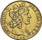 Photo numismatique  ARCHIVES VENTE 2015 -26-28 oct -Coll Jean Teitgen ROYALES FRANCAISES LOUIS XIII (16 mai 1610-14 mai 1643)  262- Double louis d'or, Moulin de Paris 1640.
