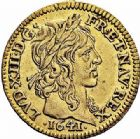 Photo numismatique  ARCHIVES VENTE 2015 -26-28 oct -Coll Jean Teitgen ROYALES FRANCAISES LOUIS XIII (16 mai 1610-14 mai 1643)  264- 1/2 louis d'or, Paris 1641.