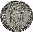 Photo numismatique  ARCHIVES VENTE 2015 -26-28 oct -Coll Jean Teitgen ROYALES FRANCAISES LOUIS XIII (16 mai 1610-14 mai 1643)  281- Douzième d'écu de 5 sols, 2ème type de Warin, Paris 1642.