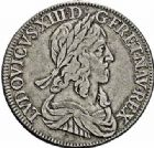 Photo numismatique  ARCHIVES VENTE 2015 -26-28 oct -Coll Jean Teitgen ROYALES FRANCAISES LOUIS XIII (16 mai 1610-14 mai 1643)  285- Demi-écu d'argent de 30 sols, 3ème type de Warin, Paris 1643.