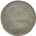 Photo numismatique  MONNAIES MONNAIES DU MONDE PEROU République (depuis 1821) Quart de peso de 1823.