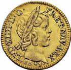 Photo numismatique  ARCHIVES VENTE 2015 -26-28 oct -Coll Jean Teitgen ROYALES FRANCAISES LOUIS XIV (14 mai 1643-1er septembre 1715)  299- 1/2 louis d'or à la mèche courte, Paris 1645.