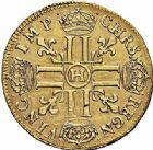 Photo numismatique  ARCHIVES VENTE 2015 -26-28 oct -Coll Jean Teitgen ROYALES FRANCAISES LOUIS XIV (14 mai 1643-1er septembre 1715)  300- Double louis d'or à la mèche longue, La Rochelle 1648.