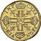 Photo numismatique  ARCHIVES VENTE 2015 -26-28 oct -Coll Jean Teitgen ROYALES FRANCAISES LOUIS XIV (14 mai 1643-1er septembre 1715)  306- Louis d'or à la perruque et aux huit L dit «louis d'Aix», Paris 1684, 2ème semestre.