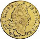 Photo numismatique  ARCHIVES VENTE 2015 -26-28 oct -Coll Jean Teitgen ROYALES FRANCAISES LOUIS XIV (14 mai 1643-1er septembre 1715)  310- Double louis d'or aux quatre L, Lyon 1697.