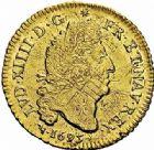 Photo numismatique  ARCHIVES VENTE 2015 -26-28 oct -Coll Jean Teitgen ROYALES FRANCAISES LOUIS XIV (14 mai 1643-1er septembre 1715)  311- Louis d'or aux quatre L, Lyon 1695.