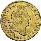Photo numismatique  ARCHIVES VENTE 2015 -26-28 oct -Coll Jean Teitgen ROYALES FRANCAISES LOUIS XIV (14 mai 1643-1er septembre 1715)  312- 1/2 louis d'or aux quatre L, Riom 1694.
