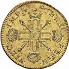 Photo numismatique  ARCHIVES VENTE 2015 -26-28 oct -Coll Jean Teitgen ROYALES FRANCAISES LOUIS XIV (14 mai 1643-1er septembre 1715)  313- Double louis d'or aux huit L et aux insignes, Tours 1701.