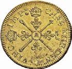 Photo numismatique  ARCHIVES VENTE 2015 -26-28 oct -Coll Jean Teitgen ROYALES FRANCAISES LOUIS XIV (14 mai 1643-1er septembre 1715)  316- Double louis d'or aux insignes, Paris 1704.