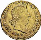 Photo numismatique  ARCHIVES VENTE 2015 -26-28 oct -Coll Jean Teitgen ROYALES FRANCAISES LOUIS XIV (14 mai 1643-1er septembre 1715)  317- Louis d'or aux insignes, Grenoble 1704.