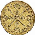 Photo numismatique  ARCHIVES VENTE 2015 -26-28 oct -Coll Jean Teitgen ROYALES FRANCAISES LOUIS XIV (14 mai 1643-1er septembre 1715)  318- 1/2 louis d'or aux insignes, Paris 1705.