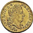 Photo numismatique  ARCHIVES VENTE 2015 -26-28 oct -Coll Jean Teitgen ROYALES FRANCAISES LOUIS XIV (14 mai 1643-1er septembre 1715)  321- 1/2 louis d'or au soleil, Paris 1709.