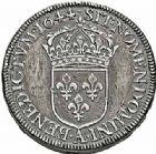 Photo numismatique  ARCHIVES VENTE 2015 -26-28 oct -Coll Jean Teitgen ROYALES FRANCAISES LOUIS XIV (14 mai 1643-1er septembre 1715)  330- Piéfort de l'écu à la mèche courte (poids quadruple), Paris 1644.