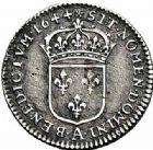 Photo numismatique  ARCHIVES VENTE 2015 -26-28 oct -Coll Jean Teitgen ROYALES FRANCAISES LOUIS XIV (14 mai 1643-1er septembre 1715)  335- 1/48ème d'écu à la mèche courte, Paris 1644.