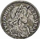 Photo numismatique  ARCHIVES VENTE 2015 -26-28 oct -Coll Jean Teitgen ROYALES FRANCAISES LOUIS XIV (14 mai 1643-1er septembre 1715)  341- 1/2 écu et 1/12ème d'écu à la mèche longue, Montpellier 1651 et Rouen 1650 (sur 49).