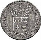 Photo numismatique  ARCHIVES VENTE 2015 -26-28 oct -Coll Jean Teitgen ROYALES FRANCAISES LOUIS XIV (14 mai 1643-1er septembre 1715)  345- Écu de Béarn à la mèche longue, Morlaàs 1657.