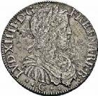 Photo numismatique  ARCHIVES VENTE 2015 -26-28 oct -Coll Jean Teitgen ROYALES FRANCAISES LOUIS XIV (14 mai 1643-1er septembre 1715)  346- 1/2 écu de Béarn à la mèche longue, Pau 1652 (2 sur 1).
