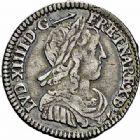 Photo numismatique  ARCHIVES VENTE 2015 -26-28 oct -Coll Jean Teitgen ROYALES FRANCAISES LOUIS XIV (14 mai 1643-1er septembre 1715)  348- 1/12ème d'écu de Béarn à la mèche longue, Pau 1660.