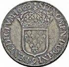 Photo numismatique  ARCHIVES VENTE 2015 -26-28 oct -Coll Jean Teitgen ROYALES FRANCAISES LOUIS XIV (14 mai 1643-1er septembre 1715)  350- Écu au buste juvénile, Rennes 1668.