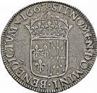 Photo numismatique  ARCHIVES VENTE 2015 -26-28 oct -Coll Jean Teitgen ROYALES FRANCAISES LOUIS XIV (14 mai 1643-1er septembre 1715)  356- Écu de Navarre au buste juvénile, Saint-Palais 1667.
