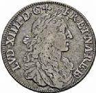 Photo numismatique  ARCHIVES VENTE 2015 -26-28 oct -Coll Jean Teitgen ROYALES FRANCAISES LOUIS XIV (14 mai 1643-1er septembre 1715)  358- 1/2 écu de Béarn au buste juvénile, Pau 1674.