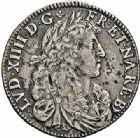 Photo numismatique  ARCHIVES VENTE 2015 -26-28 oct -Coll Jean Teitgen ROYALES FRANCAISES LOUIS XIV (14 mai 1643-1er septembre 1715)  359- 1/4 d'écu de Béarn au buste juvénile, Pau 1675.