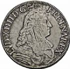 Photo numismatique  ARCHIVES VENTE 2015 -26-28 oct -Coll Jean Teitgen ROYALES FRANCAISES LOUIS XIV (14 mai 1643-1er septembre 1715)  360- Écu à la cravate, dit « du Parlement », 1er type, Bayonne 1673.