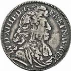 Photo numismatique  ARCHIVES VENTE 2015 -26-28 oct -Coll Jean Teitgen ROYALES FRANCAISES LOUIS XIV (14 mai 1643-1er septembre 1715)  363- 1/4 d'écu à la cravate, 1er type, Aix 1679.
