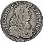 Photo numismatique  ARCHIVES VENTE 2015 -26-28 oct -Coll Jean Teitgen ROYALES FRANCAISES LOUIS XIV (14 mai 1643-1er septembre 1715)  364- 1/12ème d'écu à la cravate, 1er type, Paris 1679.