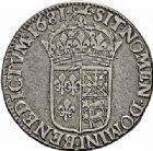 Photo numismatique  ARCHIVES VENTE 2015 -26-28 oct -Coll Jean Teitgen ROYALES FRANCAISES LOUIS XIV (14 mai 1643-1er septembre 1715)  365- Écu de Béarn à la cravate, 1er type, Pau 1681.