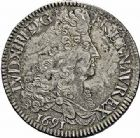 Photo numismatique  ARCHIVES VENTE 2015 -26-28 oct -Coll Jean Teitgen ROYALES FRANCAISES LOUIS XIV (14 mai 1643-1er septembre 1715)  374- Écu aux huit L du 1er type, Paris 1691.