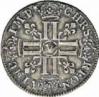 Photo numismatique  ARCHIVES VENTE 2015 -26-28 oct -Coll Jean Teitgen ROYALES FRANCAISES LOUIS XIV (14 mai 1643-1er septembre 1715)  376- 1/4 d'écu aux huit L, Bourges 1691.