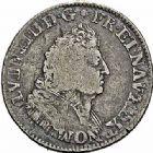 Photo numismatique  ARCHIVES VENTE 2015 -26-28 oct -Coll Jean Teitgen ROYALES FRANCAISES LOUIS XIV (14 mai 1643-1er septembre 1715)  385- 1/4 écu de Flandre aux palmes (dit «carambole»), Lille 1694.