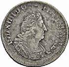 Photo numismatique  ARCHIVES VENTE 2015 -26-28 oct -Coll Jean Teitgen ROYALES FRANCAISES LOUIS XIV (14 mai 1643-1er septembre 1715)  386- 1/8 écu de Flandre aux palmes (dit «carambole»), Lille 169(…).