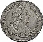 Photo numismatique  ARCHIVES VENTE 2015 -26-28 oct -Coll Jean Teitgen ROYALES FRANCAISES LOUIS XIV (14 mai 1643-1er septembre 1715)  390- 1/2 écu aux insignes, Paris 1701.