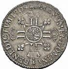 Photo numismatique  ARCHIVES VENTE 2015 -26-28 oct -Coll Jean Teitgen ROYALES FRANCAISES LOUIS XIV (14 mai 1643-1er septembre 1715)  400- 1/2 écu de Béarn aux huit L du 2ème type, Pau 1704.