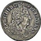 Photo numismatique  ARCHIVES VENTE 2015 -26-28 oct -Coll Jean Teitgen ROYALES FRANCAISES LOUIS XIV (14 mai 1643-1er septembre 1715)  406- 1/10ème d'écu aux trois couronnes, Paris 1710.