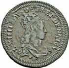 Photo numismatique  ARCHIVES VENTE 2015 -26-28 oct -Coll Jean Teitgen ROYALES FRANCAISES LOUIS XIV (14 mai 1643-1er septembre 1715)  414- Liard de cuivre du 2ème type au double grènetis, Vimy 1656.